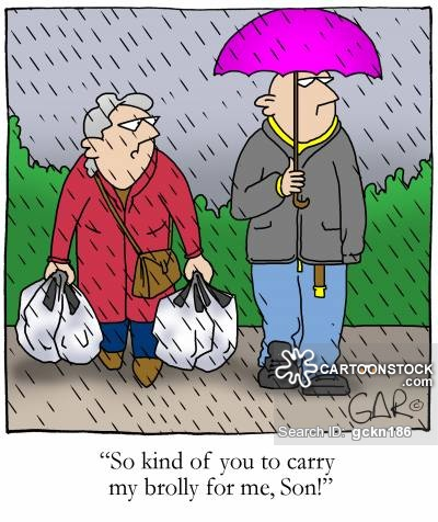 So kind of you to carry my brolly for me, Son!